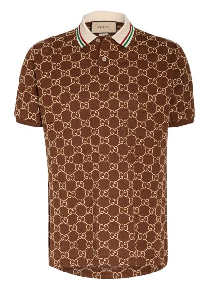 GUCCI Piqué-Poloshirt, Farbe: DUNKELBRAUN/ HELLBRAUN (Bild 1)