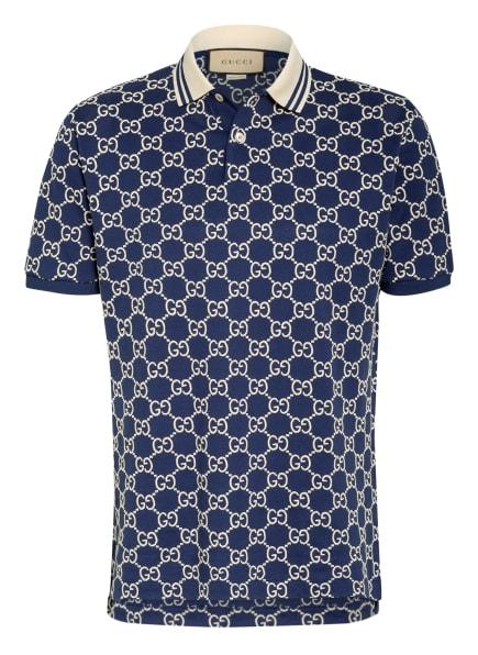 GUCCI Piqué-Poloshirt, Farbe: BLAU/ ECRU (Bild 1)