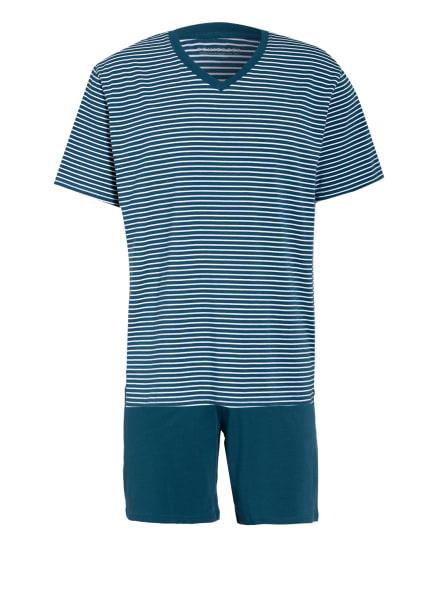 SCHIESSER Shorty-Schlafanzug , Farbe: PETROL/ WEISS (Bild 1)