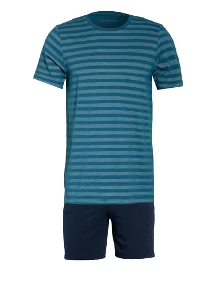 SCHIESSER Shorty-Schlafanzug HOLLOW AIR TECH , Farbe: PETROL/ DUNKELBLAU (Bild 1)