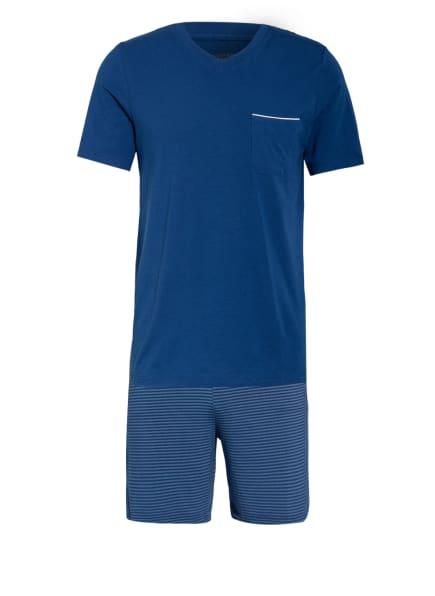 SCHIESSER Shorty-Schlafanzug LONG LIFE SOFT, Farbe: BLAU/ WEISS (Bild 1)