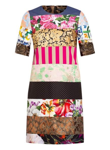 DOLCE&GABBANA Kleid im Materialmix, Farbe: SCHWARZ/ GOLD/ ROSA (Bild 1)