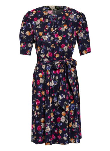 LAUREN RALPH LAUREN Jacquard-Kleid, Farbe: DUNKELBLAU/ FUCHSIA/ CREME (Bild 1)