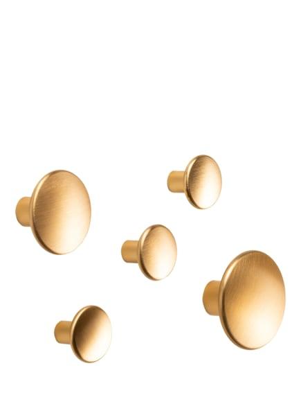 MUUTO 5-tlg. Wandhaken-Set DOTS METAL, Farbe: GOLD (Bild 1)