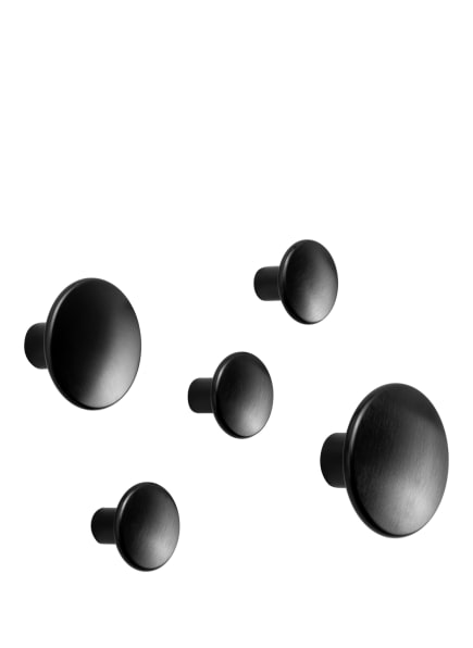 MUUTO 5-tlg. Wandhaken-Set DOTS METAL, Farbe: SCHWARZ (Bild 1)