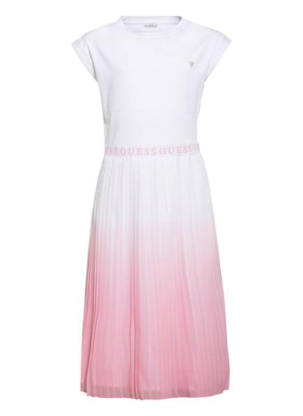 GUESS Kleid im Materialmix, Farbe: WEISS/ HELLROSA (Bild 1)