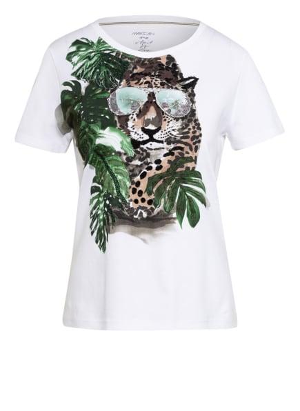 MARC CAIN T-Shirt mit Schmucksteinbesatz, Farbe: WEISS/ GRÜN/ BRAUN (Bild 1)
