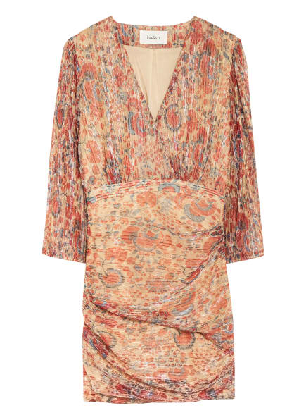 ba&sh Kleid AMELIA mit Glitzergarn , Farbe: BEIGE/ HELLROT/ DUNKELROT (Bild 1)
