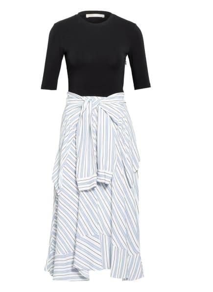 maje Kleid im Materialmix, Farbe: DUNKELBLAU/ WEISS/ BLAU (Bild 1)