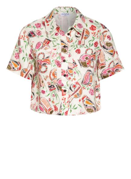 CLAUDIE PIERLOT Cropped-Hemdbluse COMEDIE aus Leinen , Farbe: ECRU/ PINK/ GRÜN (Bild 1)