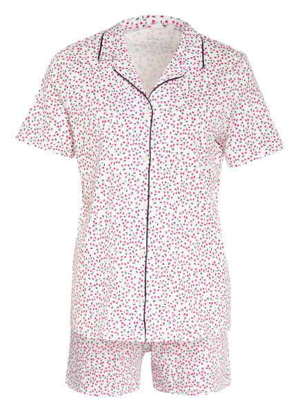 CALIDA Shorty-Schlafanzug SPRINGTIME SLEEP, Farbe: WEISS/ FUCHSIA/ SCHWARZ (Bild 1)