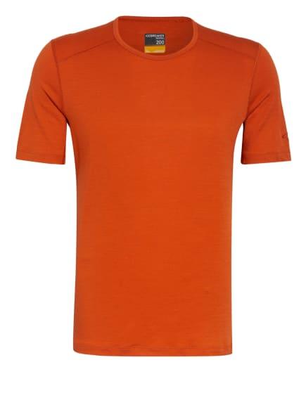 icebreaker Funktionswäsche-Shirt 200 OASIS aus Merinowolle, Farbe: DUNKELORANGE (Bild 1)