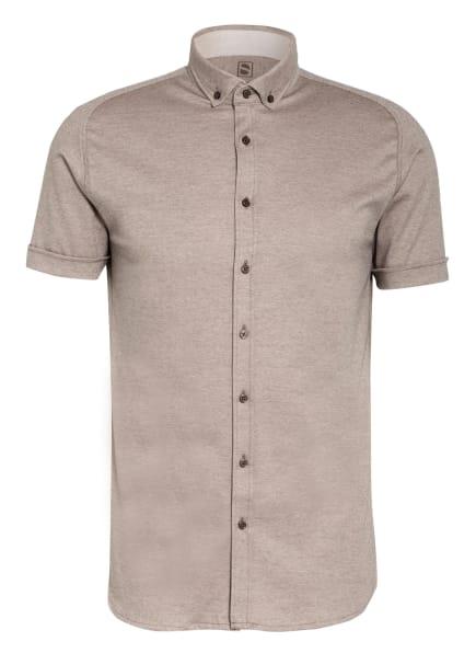 DESOTO Kurzarm-Hemd MODERN Slim Fit aus Jersey, Farbe: DUNKELBRAUN/ CAMEL (Bild 1)