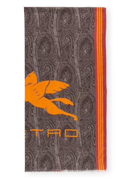 ETRO Schal, Farbe: HELLROT/ DUNKELGRAU/ ORANGE (Bild 1)