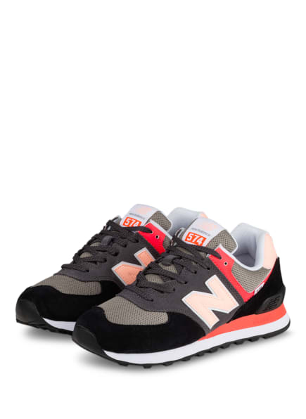 new balance Sneaker 574, Farbe: GRAU/ SCHWARZ/ NEONPINK (Bild 1)