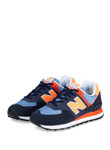 new balance Sneaker 574, Farbe: BLAU/ HELLBLAU/ NEONORANGE (Bild 1)