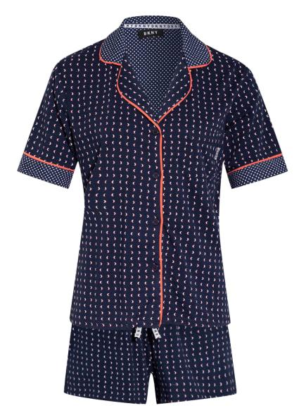 DKNY Shorty-Schlafanzug SPRING EDIT, Farbe: DUNKELBLAU/ WEISS (Bild 1)