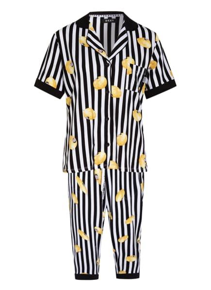 DKNY 3/4-Schlafanzug SPRING EDIT, Farbe: SCHWARZ/ WEISS/ GELB (Bild 1)