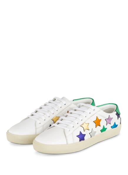 SAINT LAURENT Sneaker COURT CLASSIC SL/06 METALLIC CALIFORNIA, Farbe: WEISS/ DUNKELLILA/ GOLD (Bild 1)