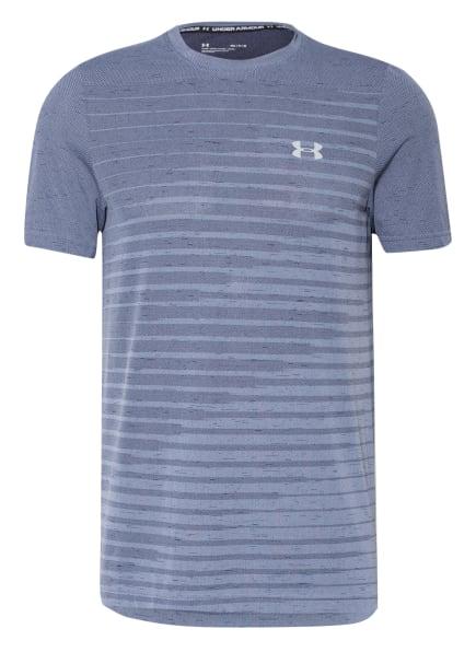 UNDER ARMOUR T-Shirt UA SEAMLESS FADE mit Mesh-Einsatz, Farbe: BLAUGRAU (Bild 1)
