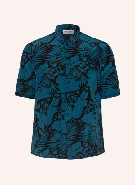 SAINT LAURENT Kurzarm-Hemd Regular Fit aus Seide, Farbe: BLAU/ SCHWARZ (Bild 1)
