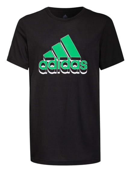 adidas T-Shirt, Farbe: SCHWARZ/ GRÜN (Bild 1)