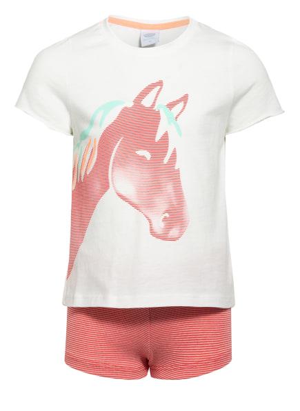 Sanetta Shorty-Schlafanzug, Farbe: WEISS/ KHAKI (Bild 1)