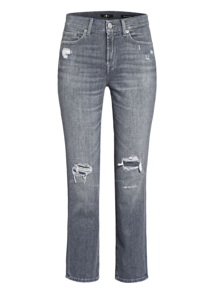7 for all mankind Straight Jeans THE STRAIGHT CROP , Farbe: Left Hand Regain Distressed GREY (Bild 1)