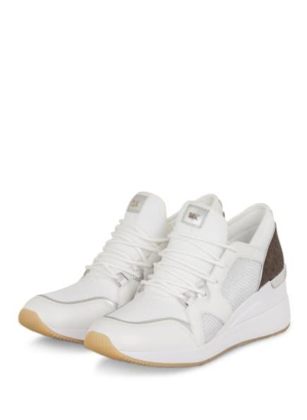 MICHAEL KORS Plateau-Sneaker LIV TRAINER, Farbe: WEISS/ SILBER/ DUNKELBRAUN (Bild 1)