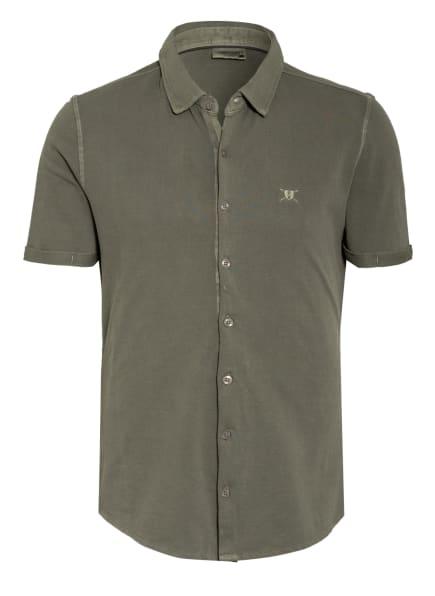 STROKESMAN'S Kurzarm-Hemd Slim Fit aus Piqué, Farbe: OLIV (Bild 1)