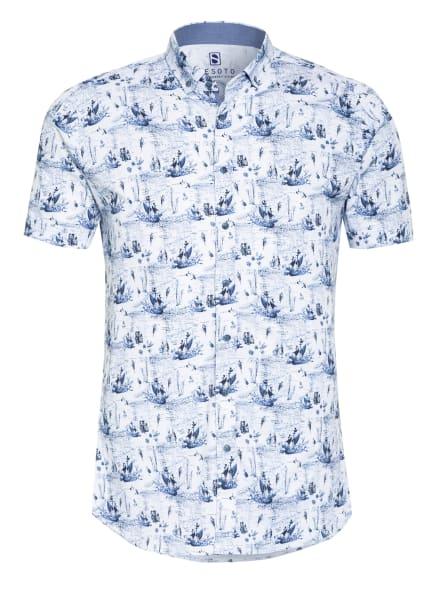 DESOTO Kurzarm-Hemd Slim Fit aus Jersey, Farbe: DUNKELBLAU/ WEISS (Bild 1)