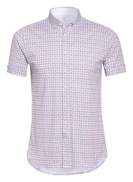 DESOTO Kurzarm-Hemd Slim Fit aus Jersey, Farbe: WEISS/ ORANGE/ DUNKELBLAU (Bild 1)