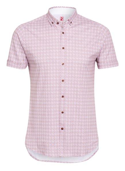 DESOTO Kurzarm-Hemd Slim Fit aus Jersey, Farbe: WEISS/ BLAU/ ORANGE (Bild 1)