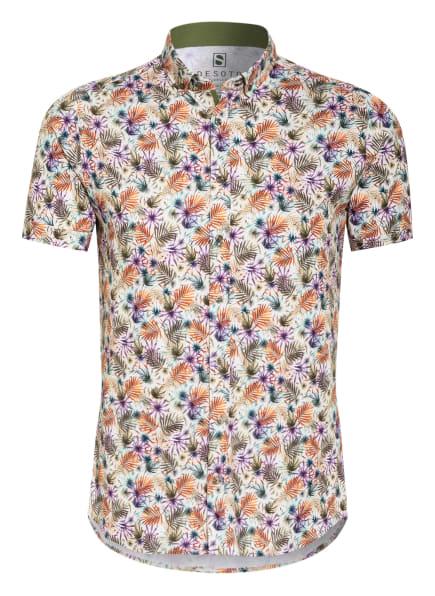 DESOTO Kurzarm-Hemd Slim Fit aus Jersey, Farbe: BEIGE/ KHAKI/ DUNKELORANGE (Bild 1)