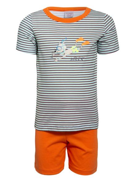 SCHIESSER Shorty-Schlafanzug RAT HENRY , Farbe: DUNKELBLAU/ ORANGE/ MINT (Bild 1)