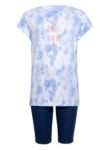 SCHIESSER Shorty-Schlafanzug NATURAL LOVE, Farbe: WEISS/ HELLBLAU/ DUNKELBLAU (Bild 1)