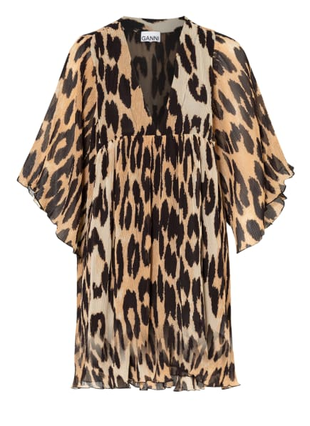 GANNI Kleid mit 3/4-Arm, Farbe: CREME/ BEIGE/ SCHWARZ (Bild 1)