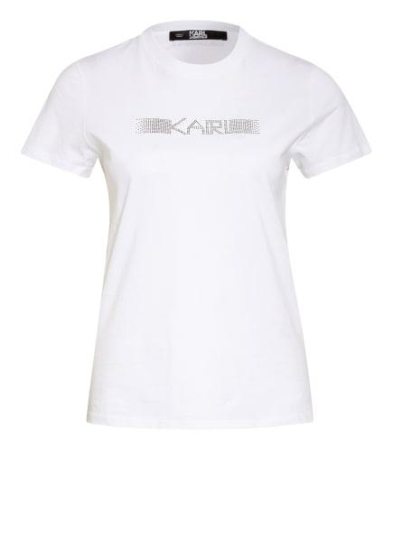 KARL LAGERFELD T-Shirt mit Strasssteinbesatz , Farbe: WEISS (Bild 1)