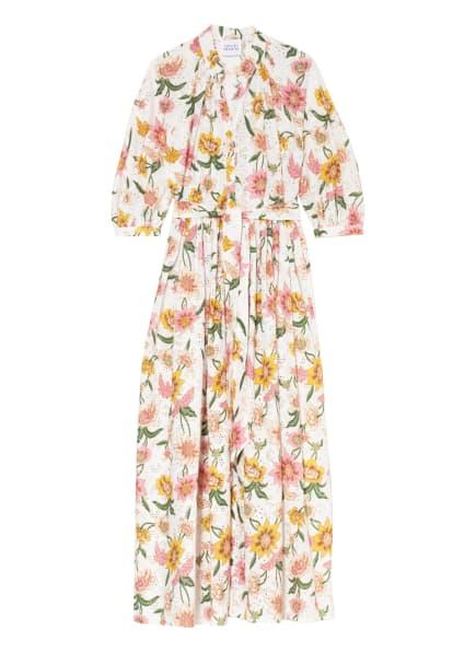 HAYLEY MENZIES Kleid aus Lochspitze mit 3/4-Arm, Farbe: WEISS/ ROSA/ GRÜN (Bild 1)