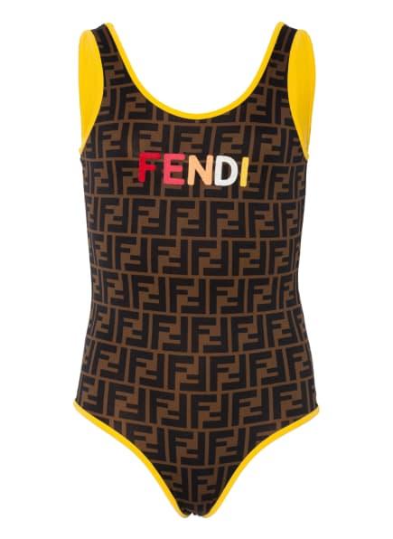 FENDI Badeanzug, Farbe: SCHWARZ/ BRAUN/ DUNKELGELB (Bild 1)
