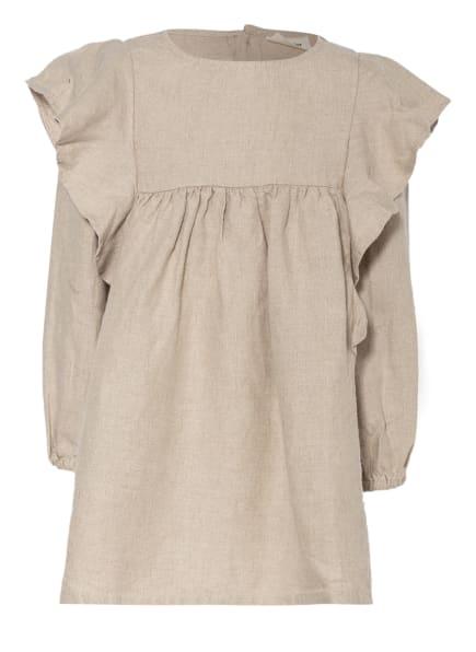 Lil' Atelier Leinenkleid mit Rüschenbesatz, Farbe: TAUPE (Bild 1)