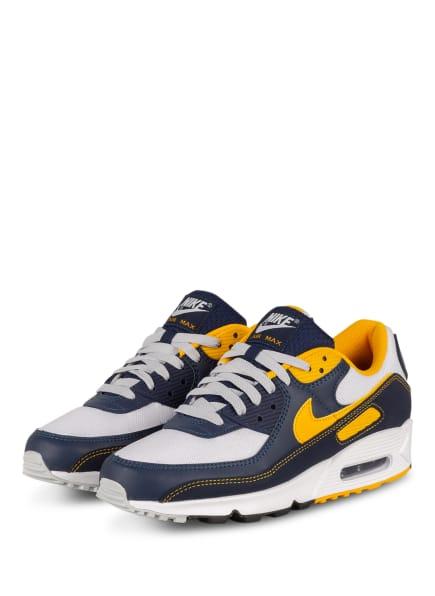 Nike Sneaker AIR MAX 90, Farbe: WEISS/ DUNKELBLAU/ DUNKELGELB (Bild 1)