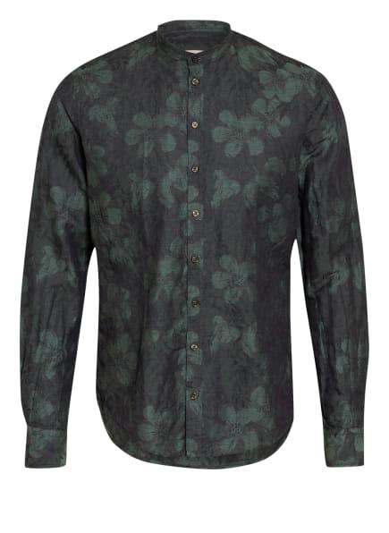 Q1 Manufaktur Hemd Slim Fit mit Leinen und Stehkragen, Farbe: DUNKELGRÜN/ GRÜN (Bild 1)