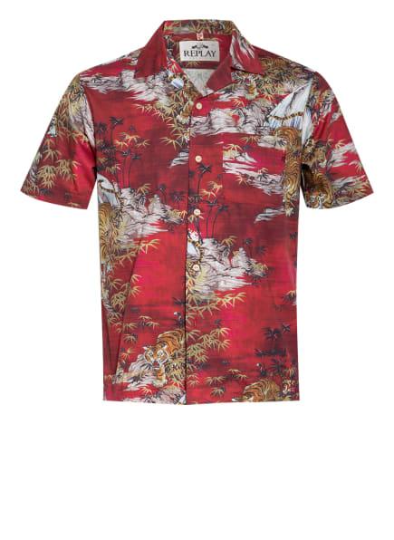 REPLAY Resorthemd Regular Fit , Farbe: DUNKELROT/ WEISS/ GELB (Bild 1)