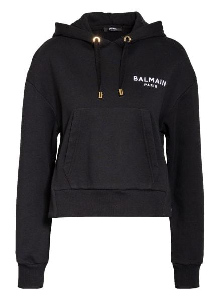 BALMAIN Cropped-Hoodie, Farbe: SCHWARZ/ WEISS (Bild 1)