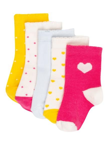 PETIT BATEAU 5er-Pack Socken, Farbe: WEISS/ GELB/ PINK (Bild 1)