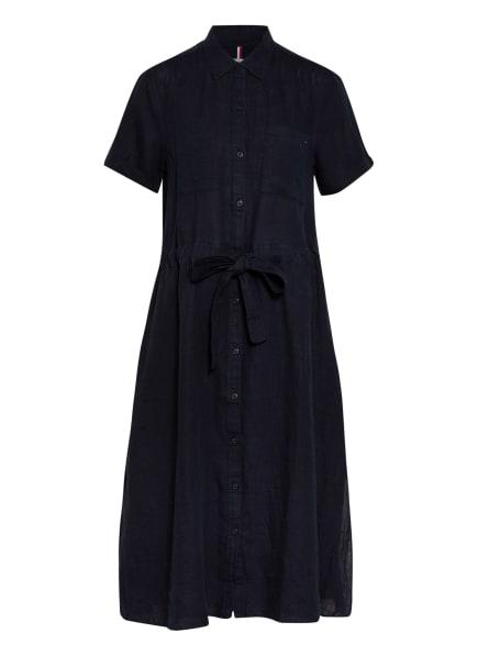 TOMMY HILFIGER Hemdblusenkleid aus Leinen, Farbe: DUNKELBLAU (Bild 1)