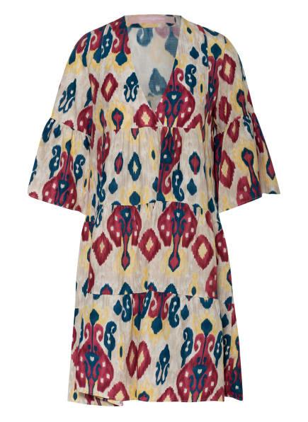 VALÉRIE KHALFON Kleid NOOD mit Leinen , Farbe: CREME/ DUNKELROT/ PETROL (Bild 1)