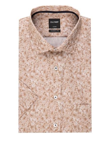 OLYMP Kurzarm-Hemd Luxor modern fit, Farbe: WEISS/ HELLBRAUN (Bild 1)