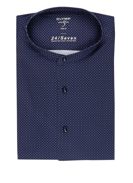 OLYMP Jerseyhemd Level Five 24/7 body fit mit Stehkragen, Farbe: DUNKELBLAU/ WEISS/ HELLBLAU (Bild 1)
